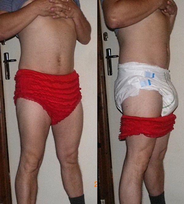 En couche et culotte sissy !